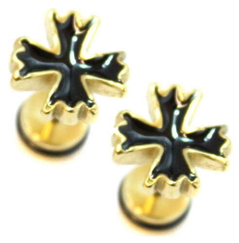 PAIR Horn Mens Earrings Stainless Steel Stud Fake Stretcher Plug Upper Ear