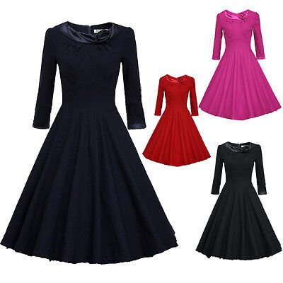 Women Vintage Retro 50s 60s Party Pinup Rockabilly Housewife Evening Swing Dress
