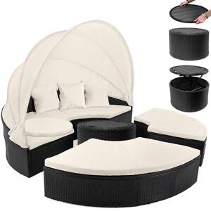 Details Zu Poly Rattan Garden Day Bed O185cm Patio Sun Lounge Black Outdoor Sofa Furniture