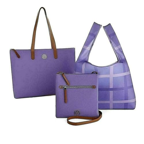 Joy Genuine Luxe Leather Handbag,Chic Crossbody  & Plaid Shopper Tote  LAVENDER