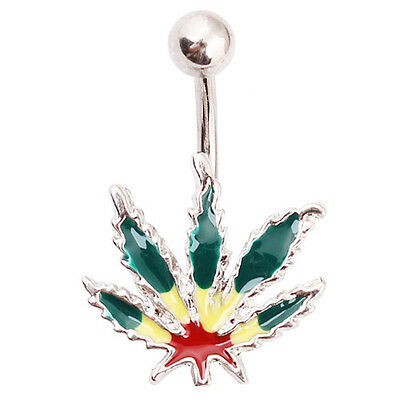 Un piercing nombril 1.6 mm feuille de cannabis rasta réf 200RASTA