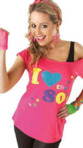 Nouveau Femme I Love The 80 S Déguisement Enterrement Vie Jeune Fille Rétro T-shirt Top 6-26 UK