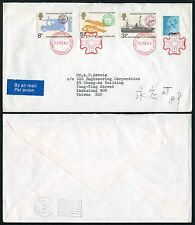 GB to CHINA TAIWAN POSTAL MUSEUM CANCELS 1980 + UPU FRANKING + 1/2p