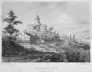 JEFFERSON CITY MISSOURI STATE CAPITOL BUILDING Revival, 1855 Art Print Engraving