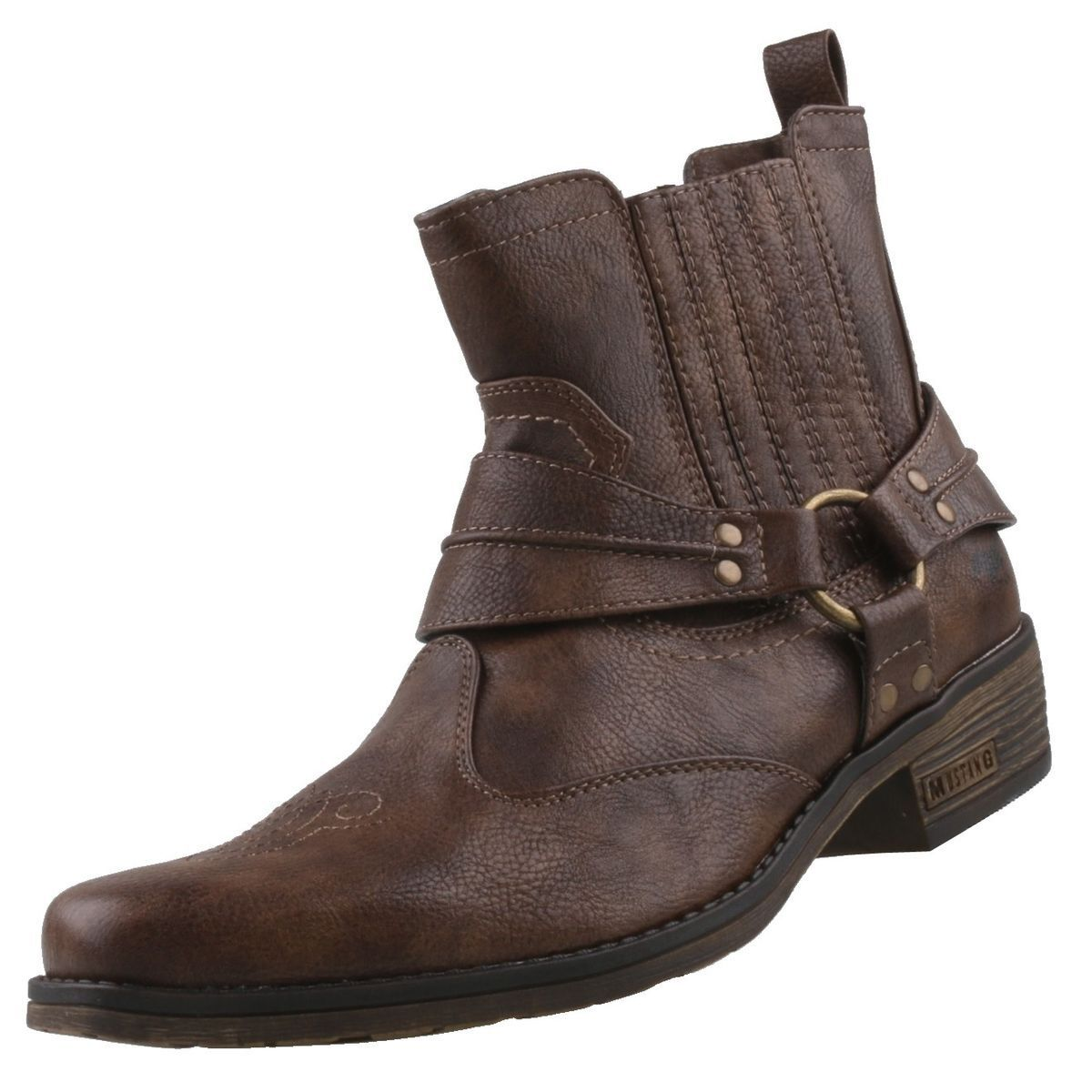 New Mustang Men's shoes Smoken Cowboy Ankle Boots
