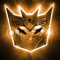 Edge Glowing Led Transformers Decepticons Car Emblem Badge Car Logo - Amber