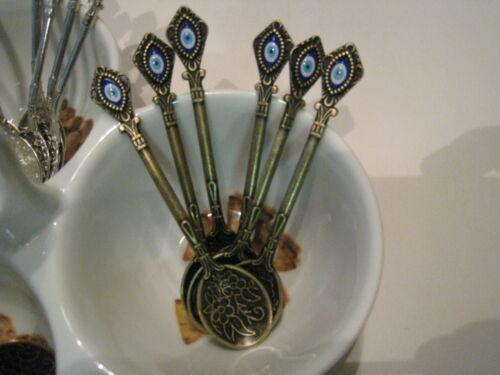 fait main cuivre turc cuillères Avec Oeil Maléfique thé Ensemble de 6 café sucre Serving