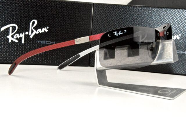 7c1af745a4 NEW RAY BAN TECH RB 8305 142 T3 Carbon Fiber Red   Grey Polarized Sunglasses