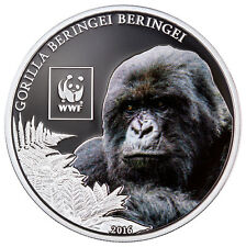 2016 Tanzania 100S Proof Silver-Plated WWF Mountain Gorilla (Mint Cap) SKU43537