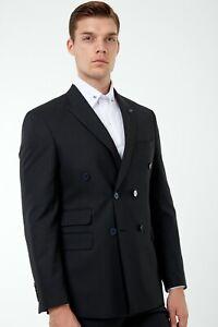 Jack Martin-schwarz Nadelstreifen doppelte Knopfleiste Anzug/Herren Business & Hochzeit Anzug