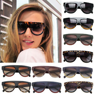 Ladies-Oversized-Flat-Top-High-Quality-Shield-Tortoise-UV400-Womens-Sunglasses
