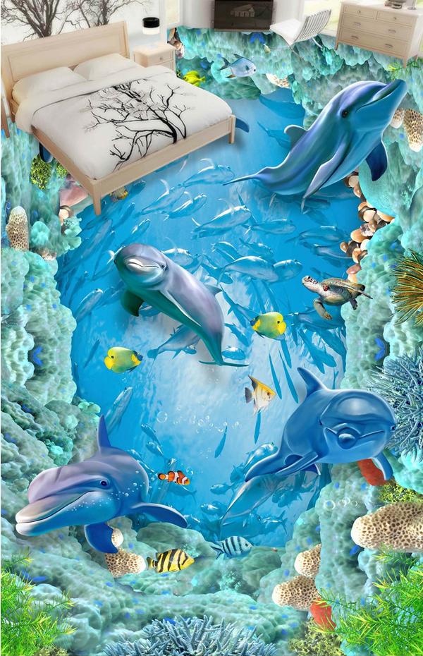 3D Blau Dolphins 422 Floor WallPaper Murals Wall Print 5D AJ WALLPAPER UK Lemon