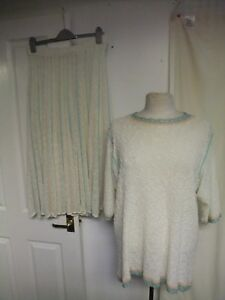 Ladies-Outfit-Jumper-amp-Skirt-M-ivory-textured-acrylic-pull-on-unlined-7664