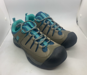 Air-Walk-Buckley-Hiker-Boys-Shoes-Light-Brown-Turquoise-Blue-rugged