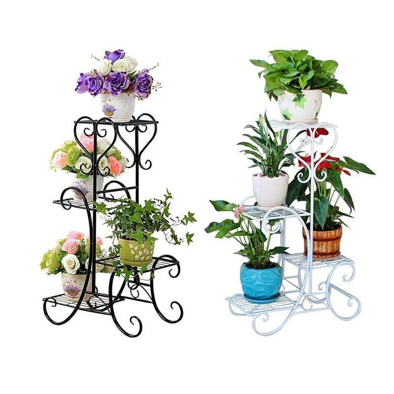 Planta de 4 niveles soporte interior al aire libre Planta Maceta Planta Soporte de estante de la esquina