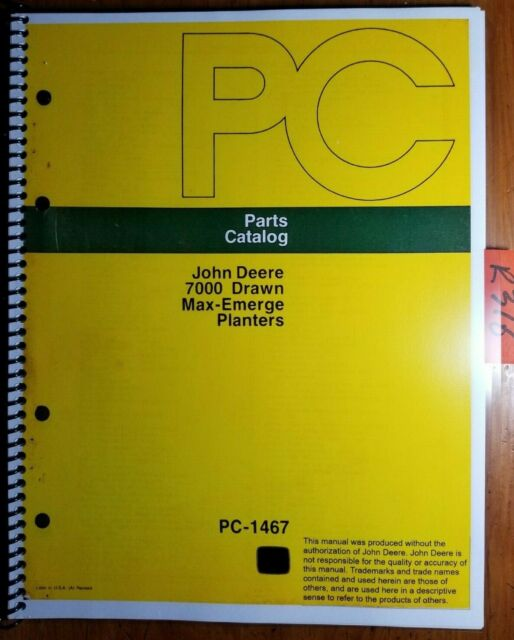 John Deere 7000 Max Emerge Planter Parts Catalog Parts Book
