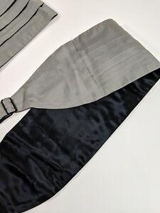 POLO-RALPH-LAUREN-Grey-Silver-100-Silk-Formal-Cummerbund-SIZE-Large-XL-USA-NWT