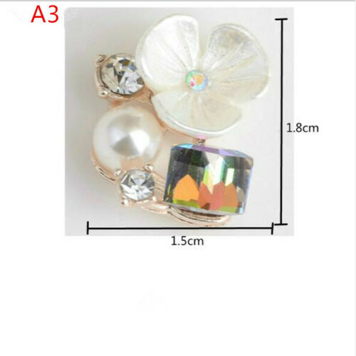 10x Crystal Pearl Flower Flatback Buttons Embellishment for DIY Hair Jewelry