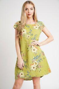 Nouveau-Femme-Floral-Design-confortable-Italien-Lagenlook-A-Mancherons-2-Poche-Lin-Robe