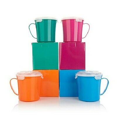Bell & Howell Set of 4 Microwave Mugs with Vented Lids - Assorted Colors - NEW!
