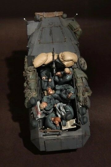 1 35 WWII Resin Figure Model Kit German Panzer Grenadiers At Rest (6 Figures)