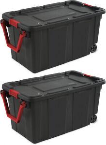 2-PACK-Sterilite-Latch-Tote-Storage-Box-40-Gallon-Wheels-Container-Case-Stack