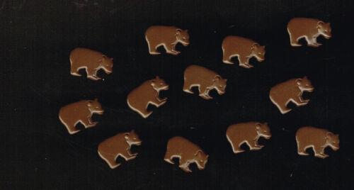 12 PIECES BEAR BROWN BEAR BRADS APPROX 16mm