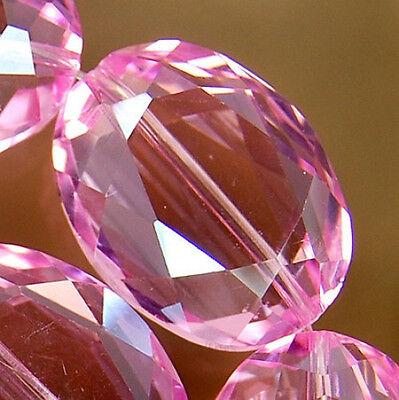 17x22mm Faceted Pink Czech Glass Crystal Eye Beads 10pcs