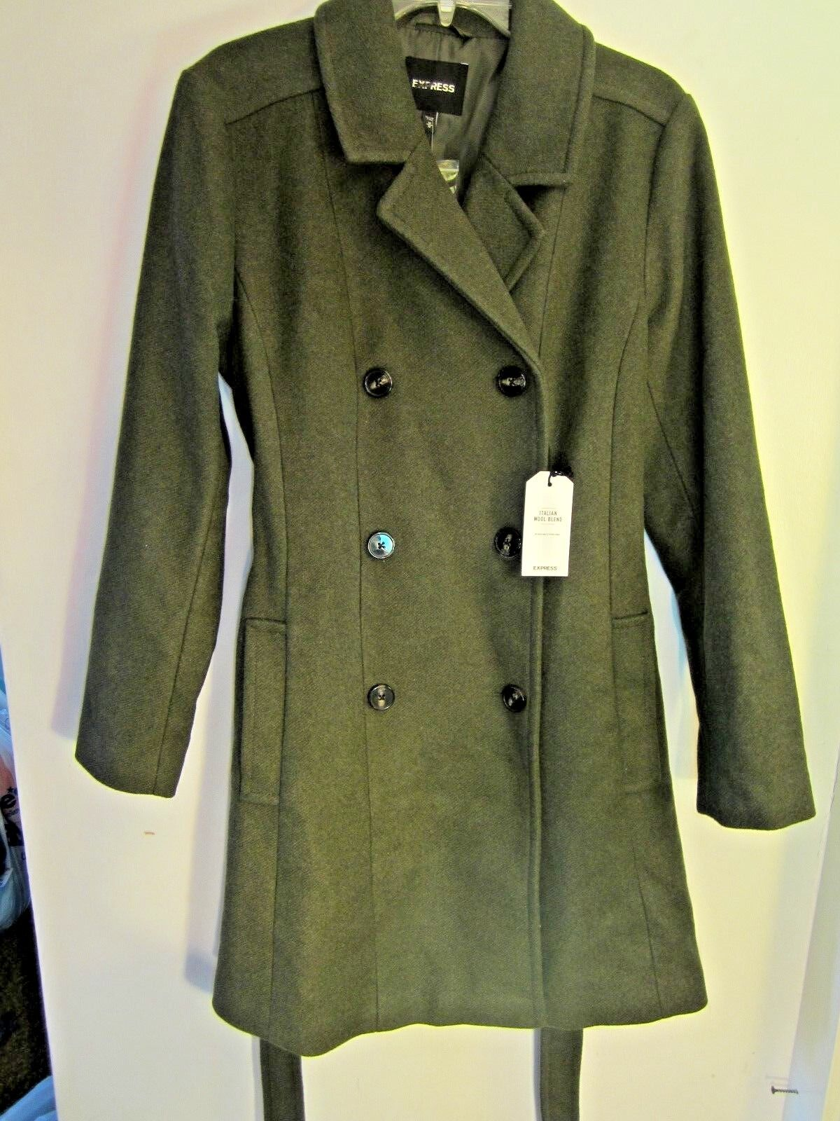 New EXPRESS WoMens  268 Premium Wool Blend Belted Trench Coat GREEN Sz M Medium