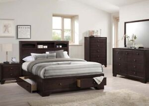 Image Is Loading Espresso Finish Storage Queen Size 4pc Bedroom Furniture