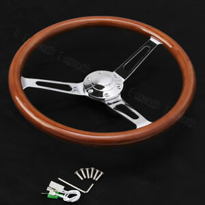 Wooden-Grain-Silver-Brushed-Spoke-Steering-Wheel-classic-Wood-Horn-Kit-15inch