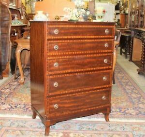 English-Antique-Mahogany-Wood-5-Drawer-Chest-Bedroom-Furniture-Cabinet