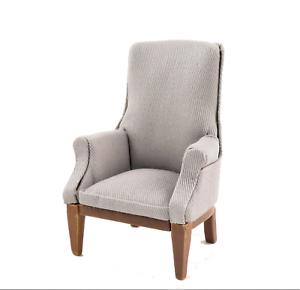 Casa De Muñecas Nuez y gris floral ala sillón 1:12 Gris mobiliario de Sala