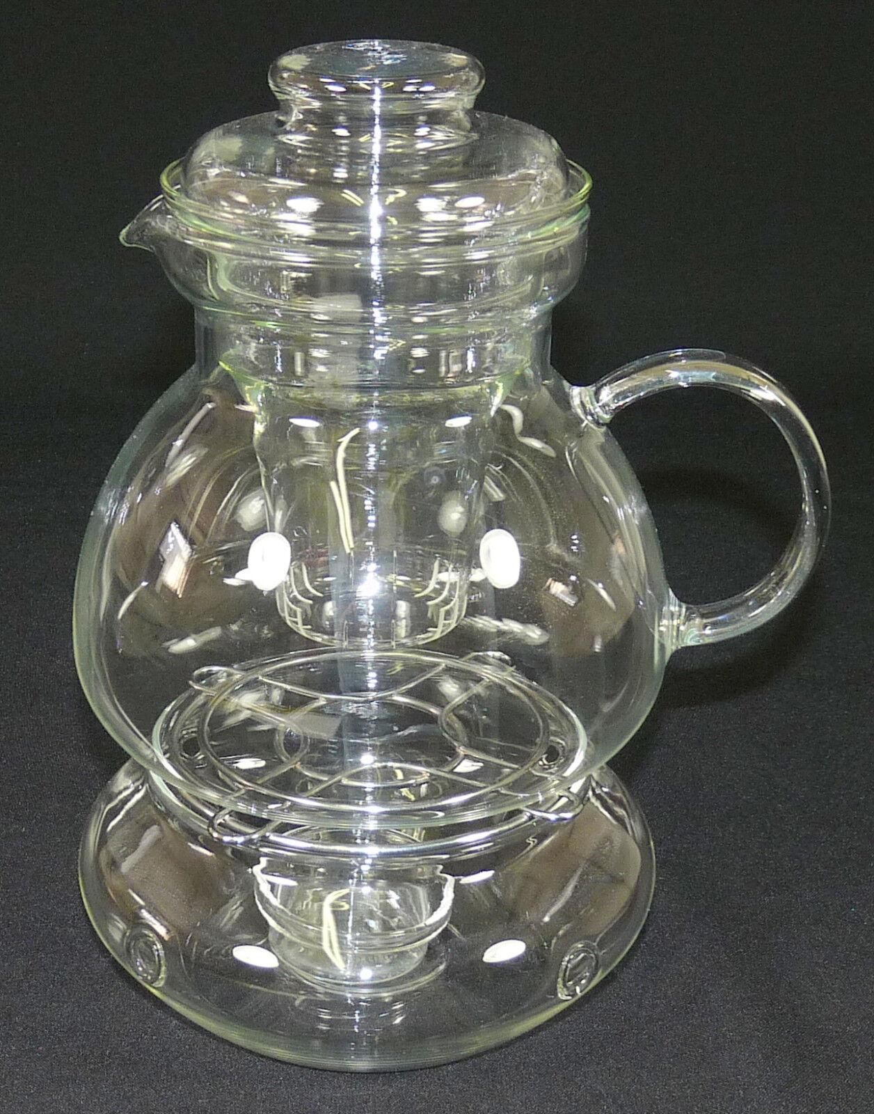 Jenaer verre-cafetière théière avec utilisation & réchaud-réfractaire