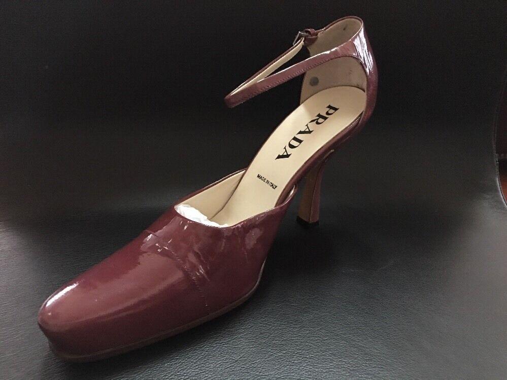 Nuevo Nuevo Nuevo Prada Lampone Charol Tira al Tobillo Zapatos De Salón Talla 39.5 euros  sorteos de estadio