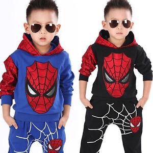 Spiderman Kinder Trainingsanzug Jungen Kapuzenjacke Sweatshirt+Hose Outfit Setzt