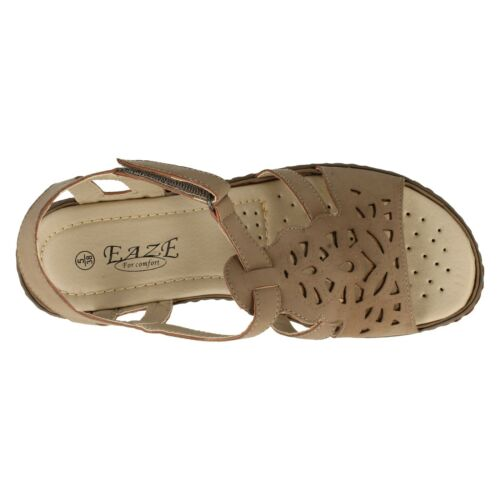 EAZE LADIES FLAT RIPTAPE STRAP CUSHIONED INSOLE CASUAL SUMMER SANDALS F3105