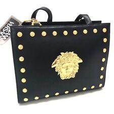 44c2438a2a AUTHENTIC GIANNI VERSACE Medusa Studs Tote Bag Shoulder Bag Black Leather