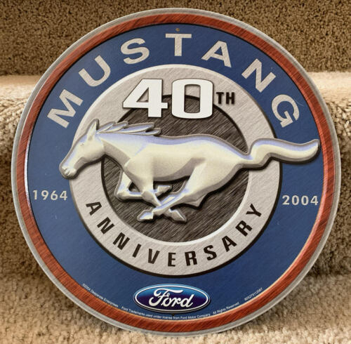 """Ford Mustang 40th Anniversary 12/"""" Round Tin Sign Nostalgic Metal Sign Home Decor"""