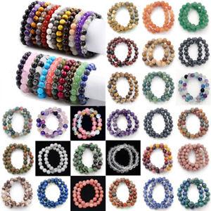 4mm-6mm-8mm-Handmade-Natural-Gemstone-Round-Beads-Stretch-Bracelets-Bangle-7-5-034