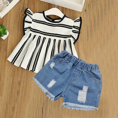 Shorts 2pcs Outfit itkidboy Little Girls Summer Clothes Set Short Sleeve Tops
