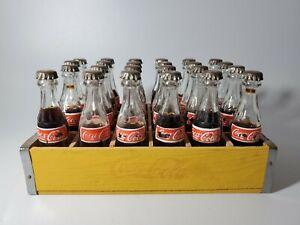 "Vintage Miniature Coca Cola Bottles with Wood Crate 24-3"" Bottles RARE"