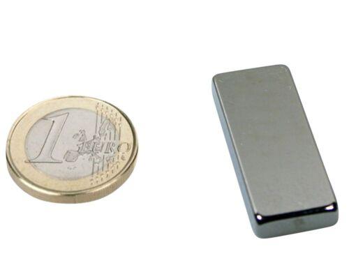 9,6 kg Quadermagnet Magnetquader  40 x  15 x  5mm Neodym N40 Nickel