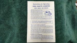 LIONEL-2056-STEAM-TYPE-LOCOMOTIVES-INSTRUCTIONS-PHOTOCOPY