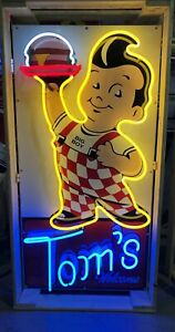 AMAZING-Large-BOBS-BIG-BOY-Tom-039-s-Welcome-NEON-Sign-STORE-DISPLAY-Garage-Man-Cave