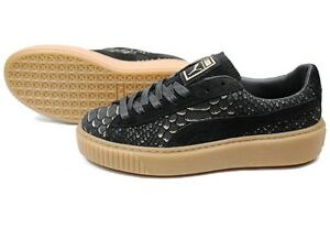 003db26b390 Image is loading Puma-Womens-Platform-Exotic-Skin-Black-Gold-Lifestyle-