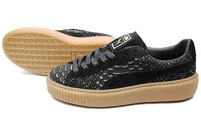PUMA Black Exotic Skin Platform Sneaker
