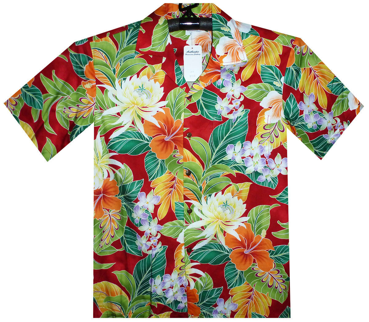 PLA Original Hawaiian Shirt, Hawaiihemd , New Flower red,  S-4XL