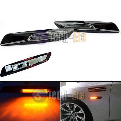 F10 Style Amber LED Black Finish Side Marker Light Fit BMW 3 Series E92 E90 E60