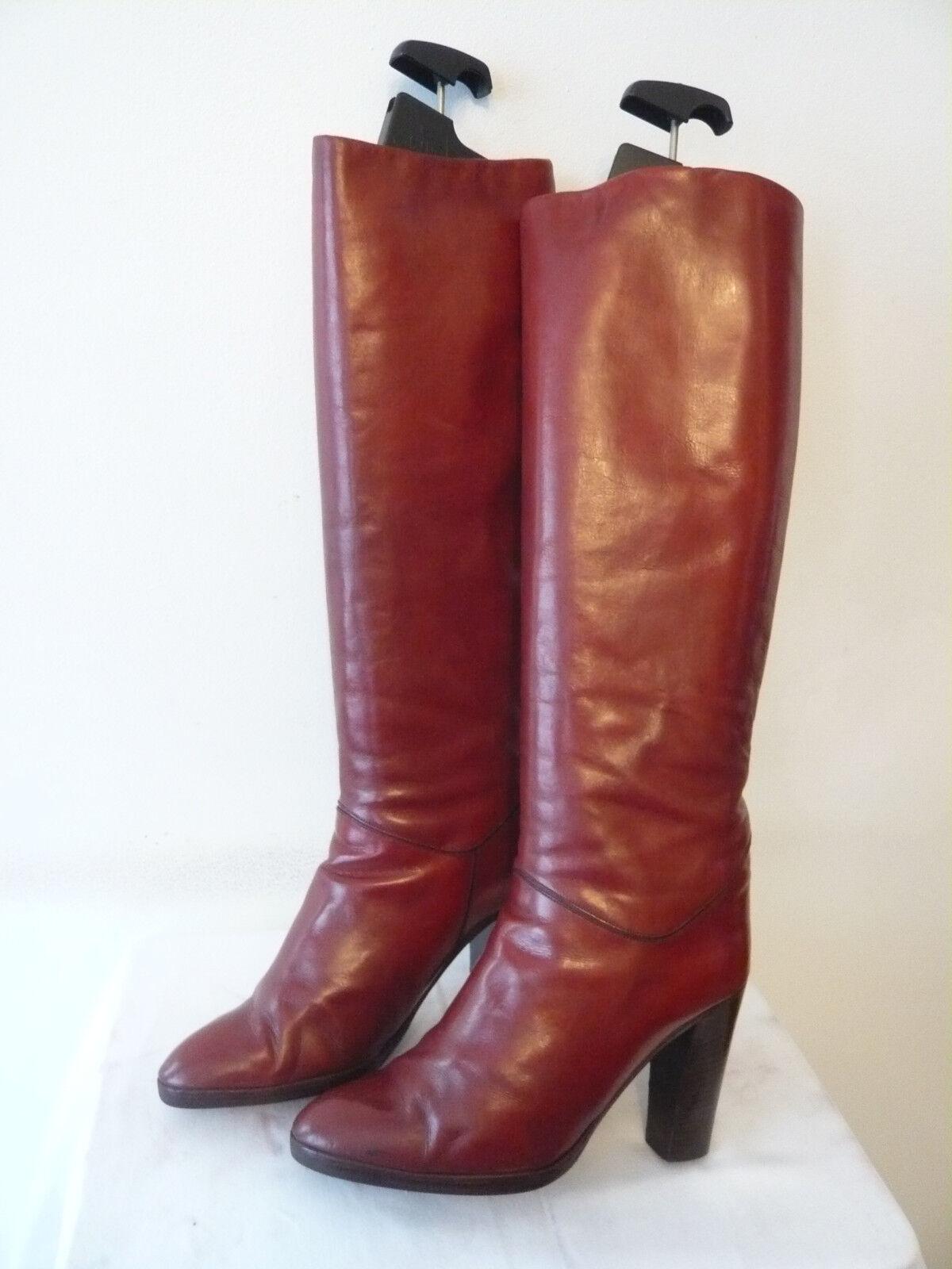 "Stiefel vintage 1982 ""Bordeaux-Rot ""ii - CHARLES Jourdan Design t.35,5"
